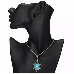 Women's Boho Turquoise Rhinestone Turtle Necklace